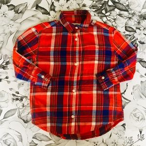 Red Plaid Swing Button Down Shirt